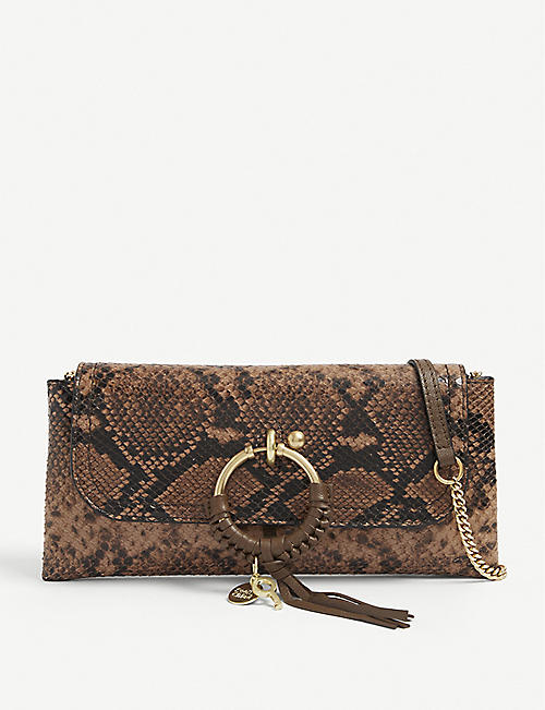 SEE BY CHLOE: Joan snake-print leather wallet-on-chain