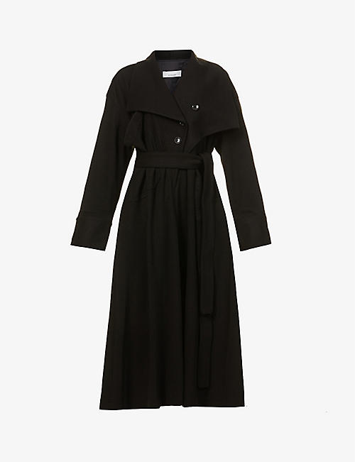 AKIRA NAKA: Filippa single-breasted woven midi dress
