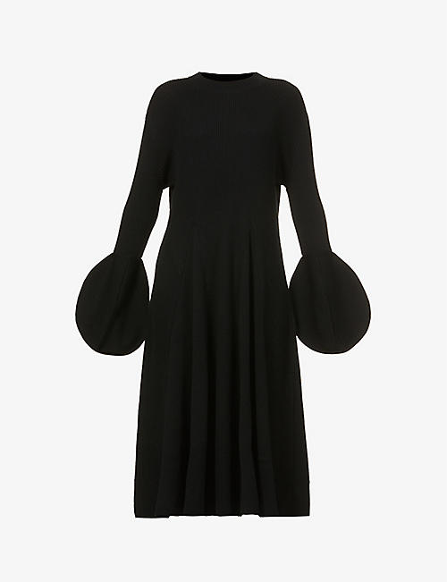 AKIRA NAKA: Circle-cuff wool-blend midi dress