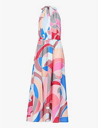 EMILIO PUCCI: Graphic-print woven maxi dress