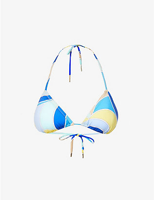 EMILIO PUCCI: Abstract-print triangle bikini top
