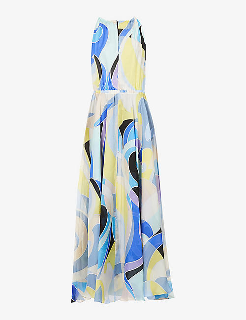 EMILIO PUCCI: Graphic-print silk maxi dress
