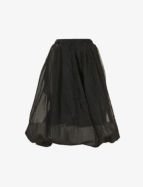 BLACK COMME DES GARCON: Twisted puff high-waist shell midi skirt