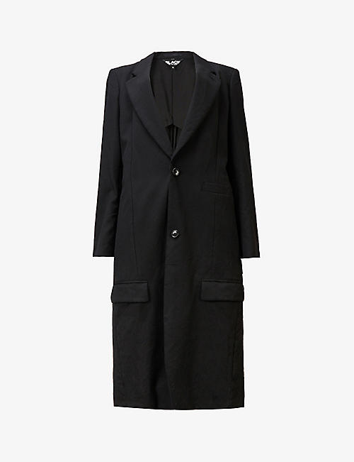 BLACK COMME DES GARCON: Tailored crinkle-texture wool coat