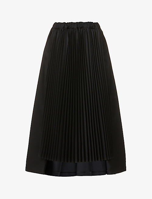 BLACK COMME DES GARCON: Pleated high-waist crepe midi skirt