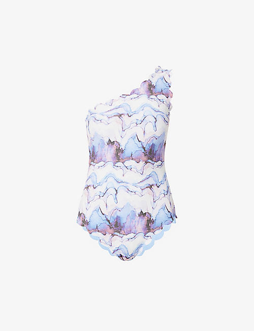 MARYSIA: Santa Barbara watercolour-print swimsuit