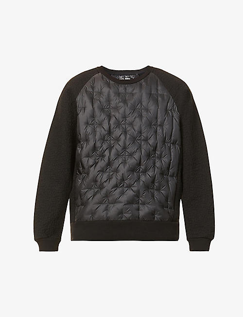 HOLDEN: Padded relaxed-fit cotton, wool and shell-blend sweatshirt
