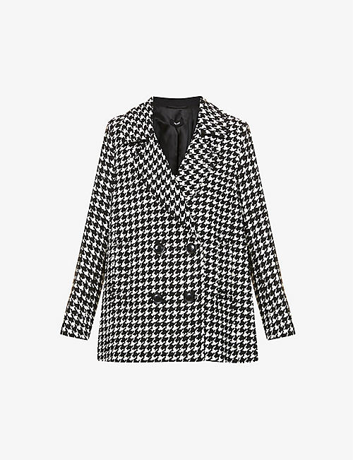 ME AND EM: Houndstooth check woven coat