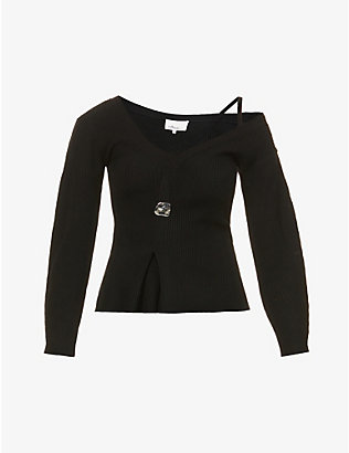 3.1 PHILLIP LIM: Off-the-shoulder wool-blend jumper