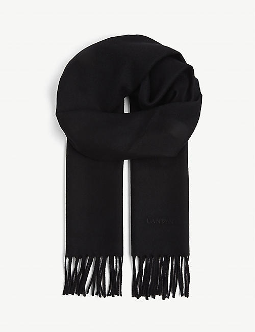 LANVIN: Logo-embroidered wool scarf
