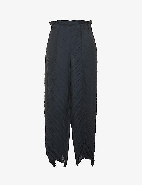ISSEY MIYAKE: Pleated straight-leg high-rise woven trousers