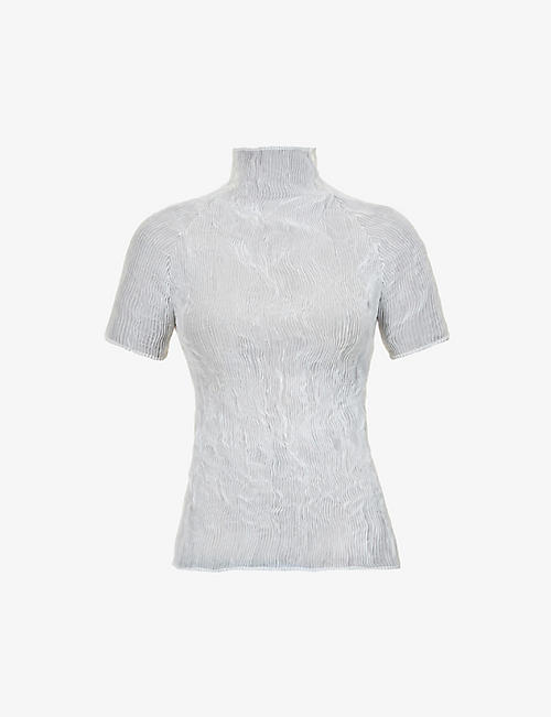ISSEY MIYAKE: Textured high-neck woven top