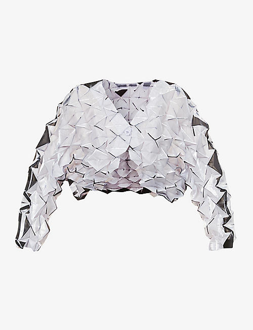 ISSEY MIYAKE: Geometric-texture cropped woven top