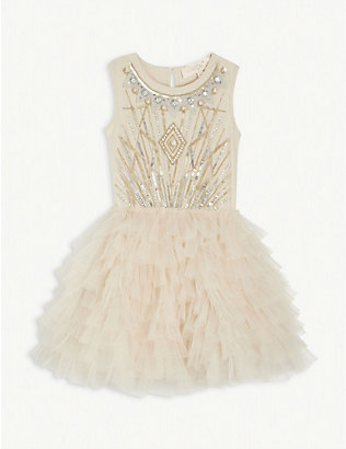 TUTU DU MONDE: Galena embellished cotton and tulle tutu dress 4-11 years