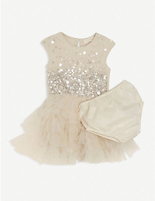 TUTU DU MONDE: Evergrow sequin-embellished cotton dress set 3-24 months