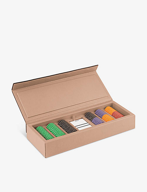 GIO BAGNARA: Parma walnut and leather poker set