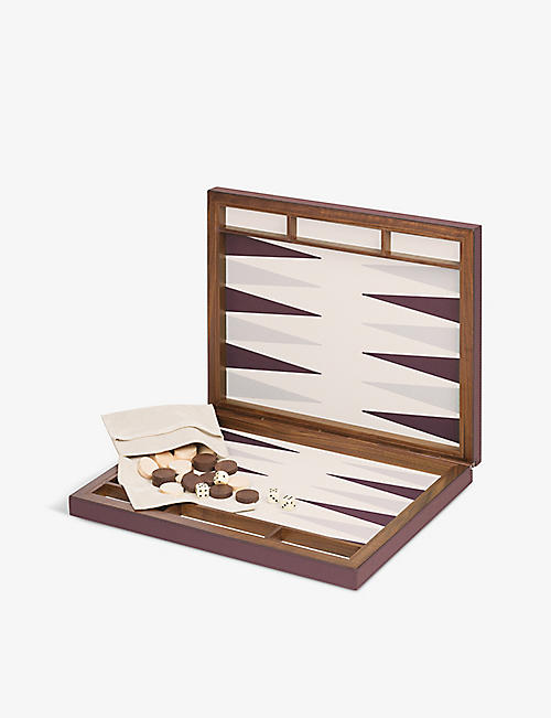 GIO BAGNARA: Palma walnut and leather backgammon set 44cm