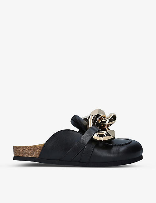 JW ANDERSON: Chain-embellished leather loafers
