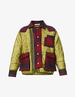 ERMANNO GALLAMINI: Quilted padded contrast-panel shell jacket