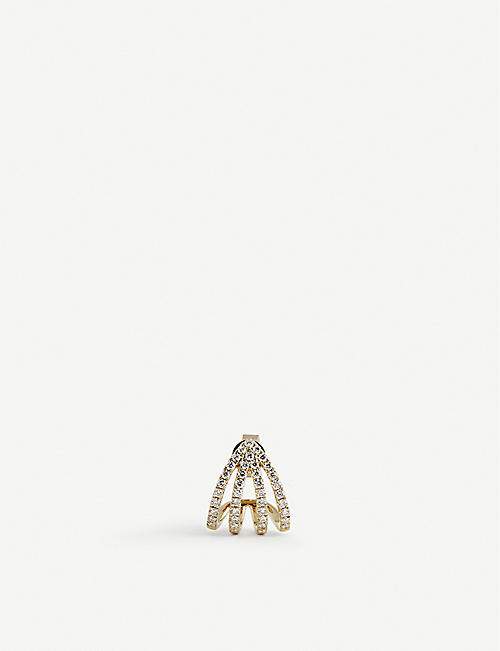 ROXANNE FIRST: Double Arrow 14ct yellow gold and diamond stud earring