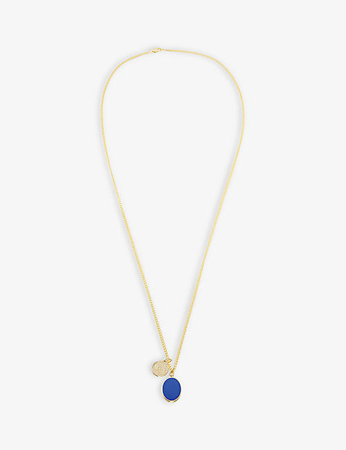 MIANSAI: Heritage 18ct yellow gold-plated vermeil sterling-silver and enamel necklace