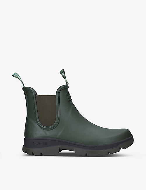 BARBOUR: Fury waterproof rubber Chelsea Wellington boots