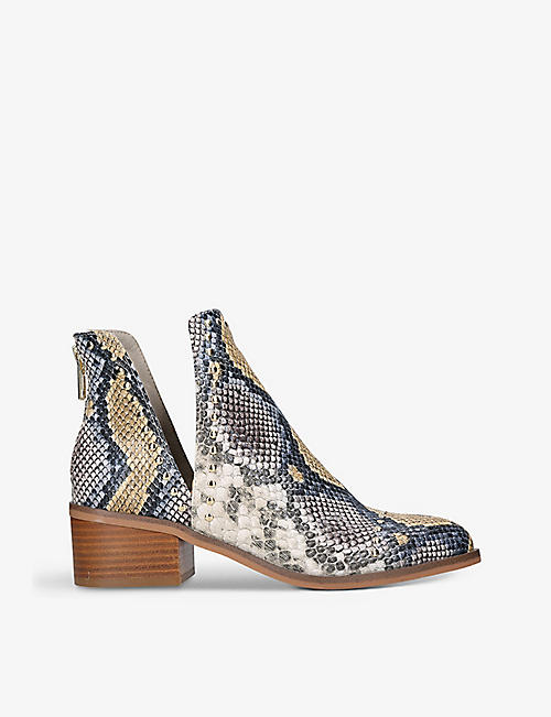 STEVE MADDEN: Conspire snakeskin-print faux-leather ankle boots