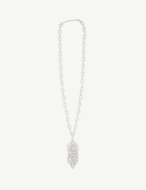 SUSAN CAPLAN: Pre-loved Christian Dior rhodium-plated Swarovski crystal drop necklace