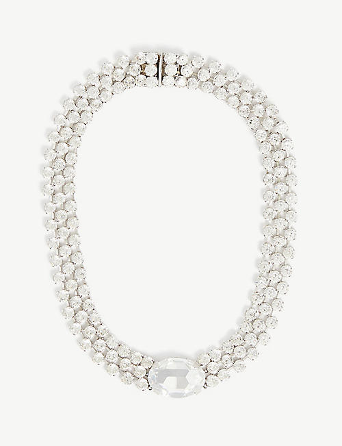 SUSAN CAPLAN: Pre-loved Christian Dior rhodium-plated Swarovski crystal collar necklace