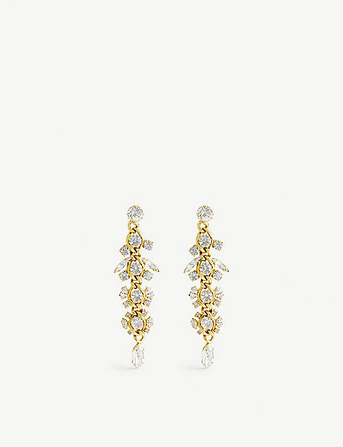 SUSAN CAPLAN: Pre-loved gold-plated crystal chandelier earrings