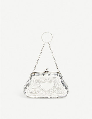 SUSAN CAPLAN: Pre-loved Rococo-embossed sterling-silver coin purse