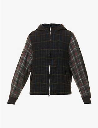 UNDERCOVER: Checked hooded wool jacket