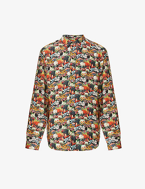 PAUL SMITH: Seed graphic-print Soho-fit crepe shirt