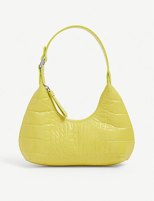 BY FAR: Baby Amber croc-embossed leather shoulder bag
