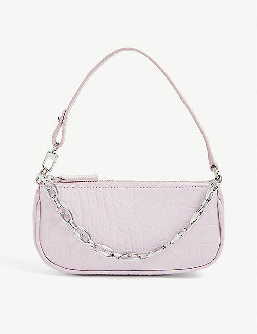 BY FAR: Mini Rachel croc-embossed leather shoulder bag