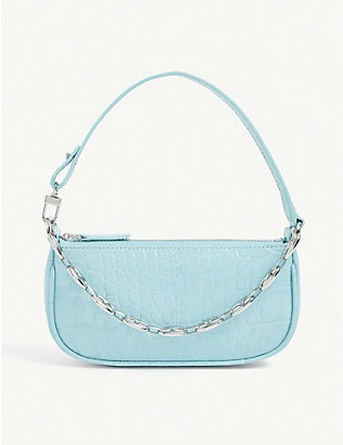 BY FAR: Mini Rachel crocodile-embossed leather shoulder bag
