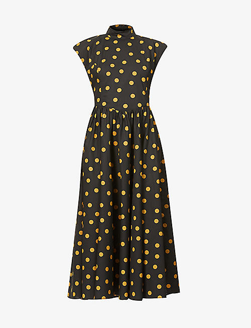 GESTUZ: Cassia polka dot organic-cotton midi dress