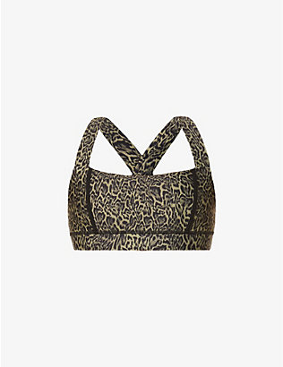 THE UPSIDE: Maria leopard-print stretch-woven sports bra