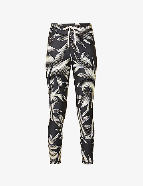 THE UPSIDE: Palm-print stretch-woven leggings