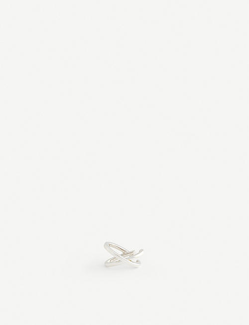 ALAN CROCETTI: Interlocking mini rhodium-plated vermeil silver ear cuff