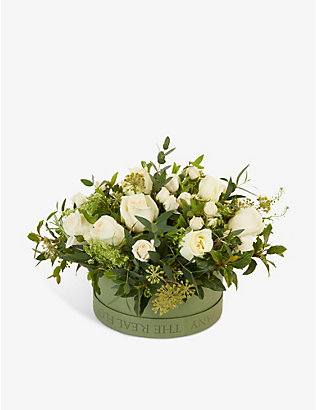 THE REAL FLOWER COMPANY: Cream and Ivory Pick of the Day hat box arrangement