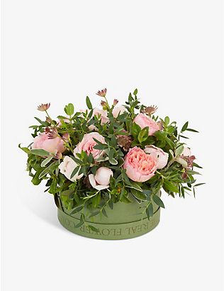 THE REAL FLOWER COMPANY: Pastel Pink Pick of the Day hat box arrangement