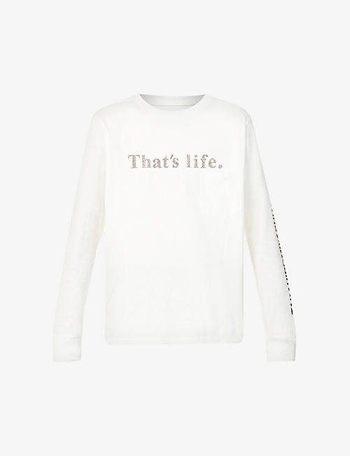 THE SOLOIST: That's Life text-print cotton-jersey top