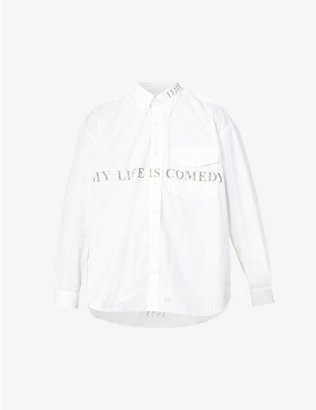 THE SOLOIST: Text-print oversized cotton shirt
