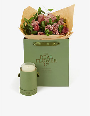 THE REAL FLOWER COMPANY: Simply Café Latte small bouquet with candle