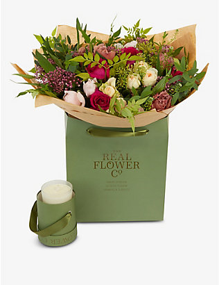 THE REAL FLOWER COMPANY: Birthday medium bouquet and scented candle