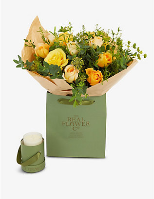 THE REAL FLOWER COMPANY: Selfridges medium bouquet and scented candle