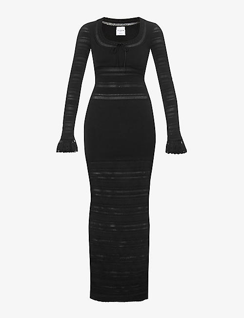 AZZEDINE ALAIA: Edition 1993 The Lace striped stretch-woven maxi dress
