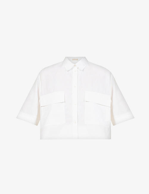 AZZEDINE ALAIA: Cropped relaxed-fit cotton shirt