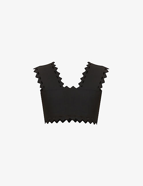 AZZEDINE ALAIA: Cropped cut-out stretch-woven top